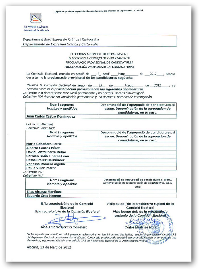 2012 Elecciones - Convocatoria y Calendario